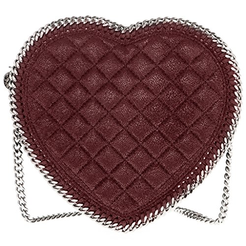 Stella McCartney Women's Falabella Quilted Heart Faux Leather Crossbody Bag Burgundy