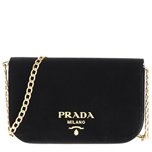 Prada Women's Small Velvet Flap Crossbody Bag Black