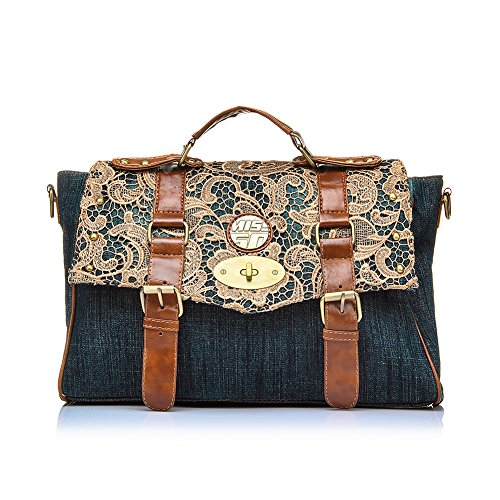 Realer Women's Denim Satchel Purses and Handbag for Teen Girls High School Jeans Lace Tote Bag