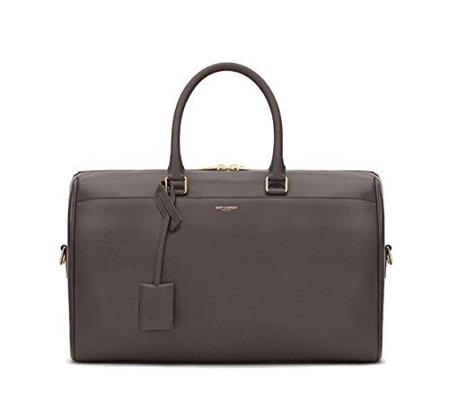 Saint Laurent 12 Hour Calf Skin Grey Leather Duffle Bag 322050