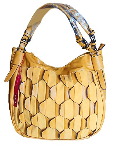 Tosca USA,Two-Tone Perforated Classic Hobo -Mustard