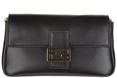 Fendi women's leather shoulder bag original micro baguette black