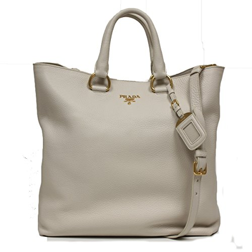 Prada Textured Off White Leather Shopping Tote Bag Large Shoulder Handbag BN1713