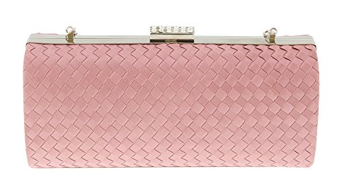 Scheilan Rose Fabric Weave Box Clutch/Shoulder Bag
