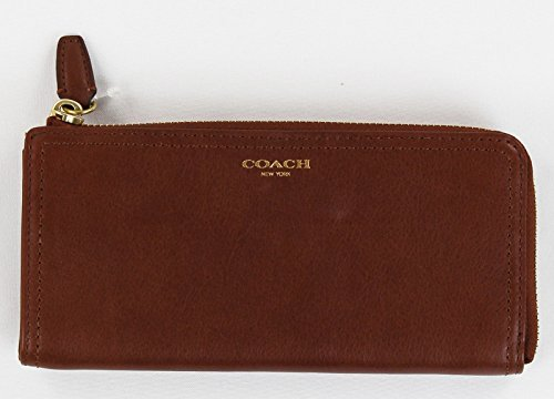 COACH 48178 Legacy Leather Slim Zip Wallet in Brass Cognac Brown