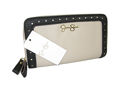 New Jessica Simpson Double Zip Around Wallet Purse Hand Bag Bisque Beige Black