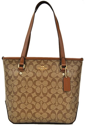 COACH Siganture Top Zip Tote Khaki/Saddle Shoulder Bag