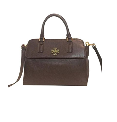 Tory Burch Mercer Double Zip Dome Satchel Dark Walnut Pebbled Leather Bag