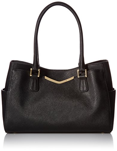 Calvin Klein on My Corner Saffiano Satchel, Black/Gold