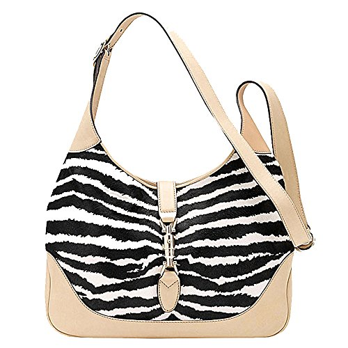 Gucci 'New Jackie' Zebra Print Pony Hair Shoulder Bag 277520, Beige Tan