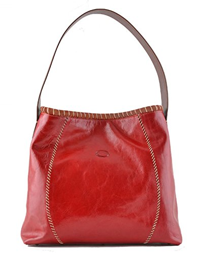 Cuoieria Fiorentina Italian Leather Hand-stitched Handbag (Red/ Brown)