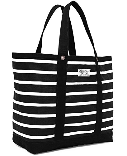 NEW AUTHENTIC POLO RALPH LAUREN X LARGE UNISEX CANVAS BEACH SHOPPING TOTE (Black/White)