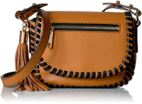 MILLY Astor Contrast Whipstitch Small Saddle, Caramel/Black