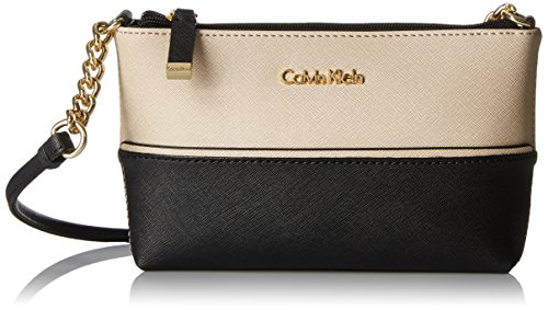 Calvin Klein on My Corner Top Zip Saffiano Crossbody, Wheat/Black