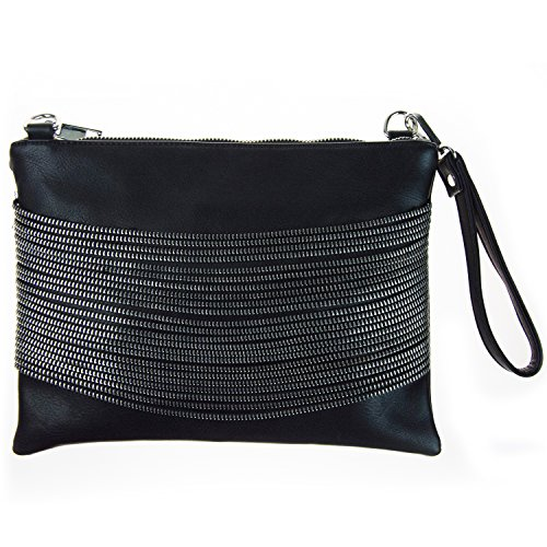 Modern Chic Zipper Chain Decal Clutch Purse / Cross Body Shoulder Bag, Black