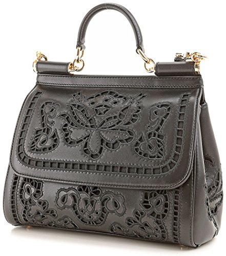 DOLCE & GABBANA Miss Sicily Floral Lace Laser Cut Out Black Nappa Bag Handbag Purse