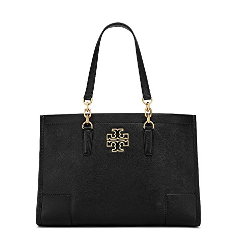 Tory Burch Pebbled Leather Britten Center Zip Large Tote – Black