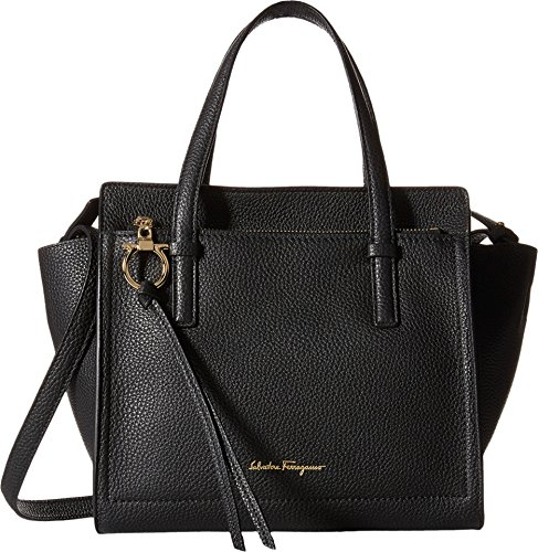 Salvatore Ferragamo Small Pebbled Leather Tote – Black