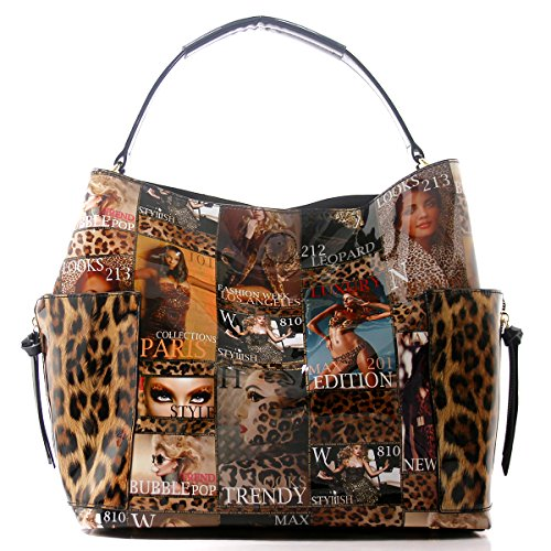 Magazine Cover Leopard Collage Top Handle Dome Satchel Handbag (Multi(007))