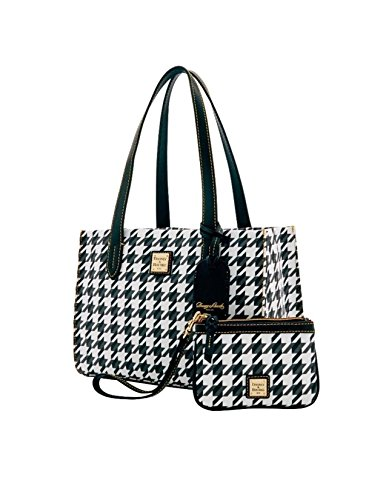 Dooney Bourke Houndstooth Small Shopper & Med Wristlet Black