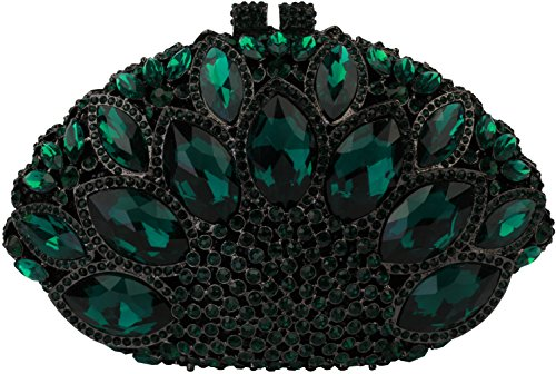 Yilongsheng Ladies Luxury Evening Bags With Big Rhinestones For Prom L-5082 (Green)