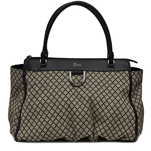 Gucci Diamante Beige Nero Black Leather Canvas Top Handle Shoulder Handbag Bag 341491