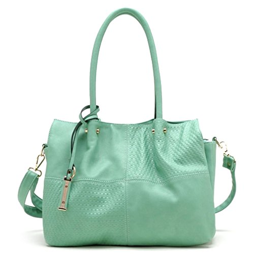 Tosca USA, Quality 3-Compartment, 2-Handle Satchel w/ Strap- Mint