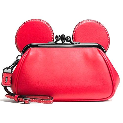 Disney X Coach Mickey Kiss Lock Wristlet in Red
