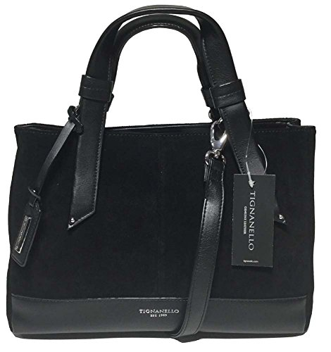 Tignanello Suede Sweet Satchel, Black, T58115