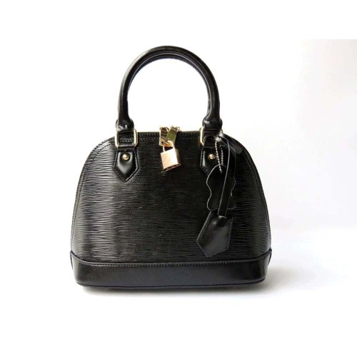 Piggy2gether – Water Ripples Cowhide Genuine Leather Women Handbag (Black)