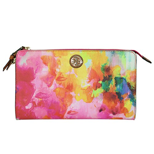 Tory Burch Cameron Crossbody Clutch Watercolor Multi Floral Handbag
