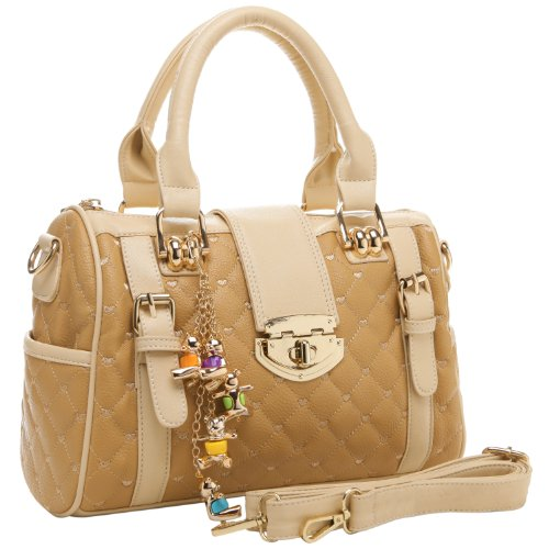 Diamond Quilted Bowler Style Tote Purse / Convertible Shoulder Bag w/ Bear Charm