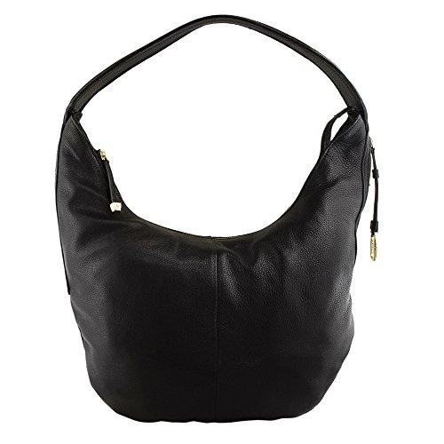Halston Heritage CX2006L1 Leather Slouchy Shoulder Hobo Bag, Black
