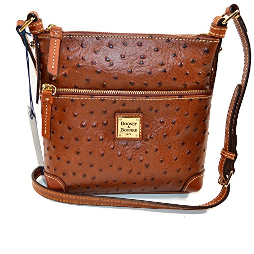 Dooney & Bourke Ostrich emb leather Letter Carrier Cognac