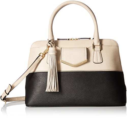 Calvin Klein on My Corner Top Zip Saffiano Satchel, Black/Wheat