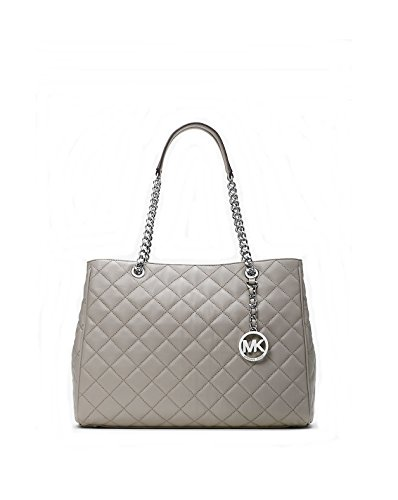 Michael Kors Susannah Large Quilted Leather Tote (Pearl Grey)