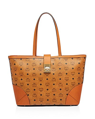 MCM Patricia Visetos Shopper Medium Tote Cognac Logo