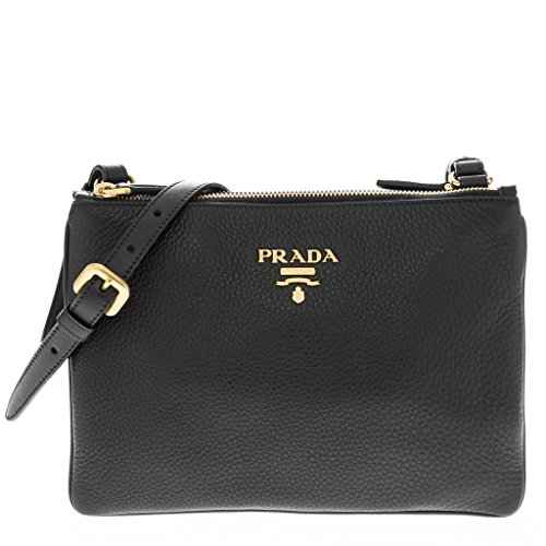 Prada Women's Calf Double Shoulder Bag Black