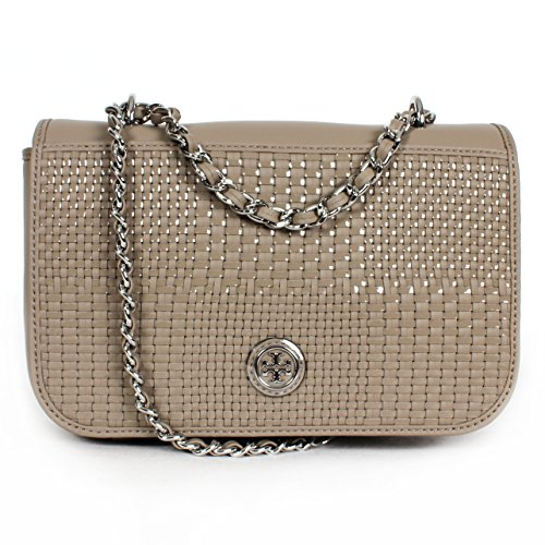 Tory Burch Robinson Woven Adjustable Shoulder Bag French Grey