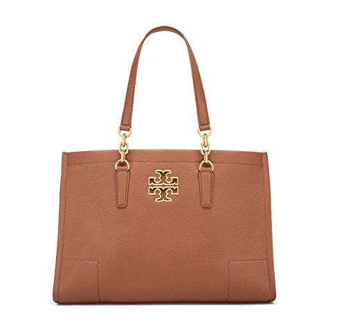 Tory Burch Leather Britten Large Shoulder Tote – Bark
