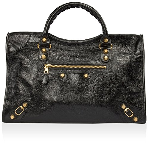 Balenciaga Women's Giant 12 Gold City Satchel, Black