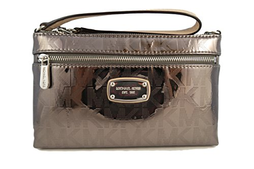 Michael Kors Mk Signature Jet Set Large Nickel Mirror Clutch Purse Bag Wristlet