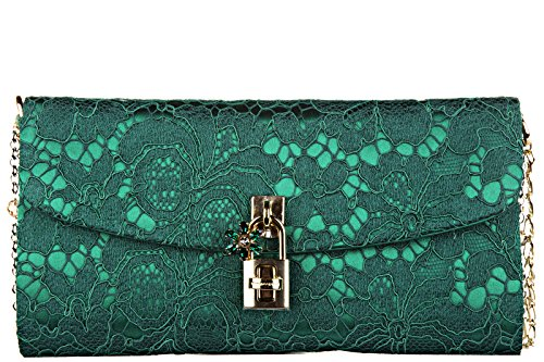 Dolce&Gabbana women's clutch handbag bag purse dolce pizzo taormina green