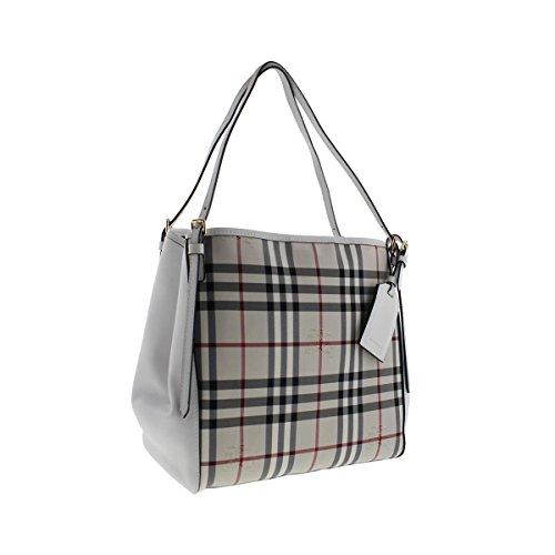 Burberry Womens Canterbury Leather Trim Tote Handbag White Small