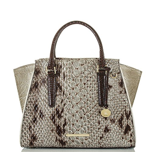 Brahmin Priscilla Stone Carlisle Genuine Leather Satchel