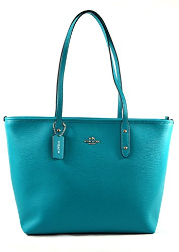 Coach Crossgrain Leather City Zip Tote Shoulder Bag Purse Handbag, Turquoise
