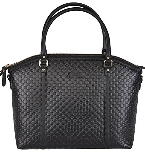 Gucci Women's Leather Micro GG Guccissima Crossbody Dome Purse (Black)