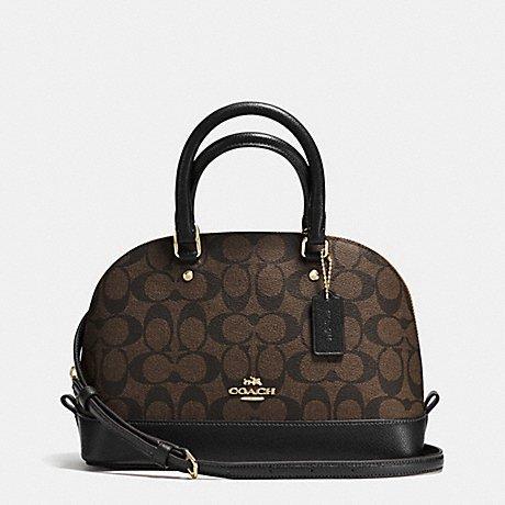 Coach F58295 Mini Sierra Satchel Brown/Black Signature Crossbody Handbag