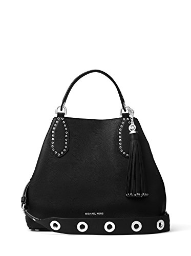 MICHAEL Michael Kors Brooklyn Large Leather Shoulder Bag – Black
