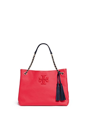 Tory Burch Thea Canvas Center Zip Chain Tote Shoulder Bag, Vermillion
